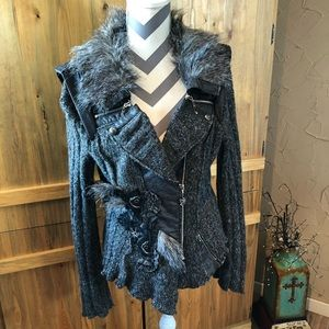 FUN Juju & Christine Boho Faux Fur Sweater Jacket